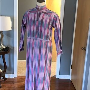 Multicolor 70s vintage shirt dress small
